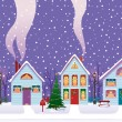 Royalty-Free Stock Imagen vectorial: Christmas Eve in the city