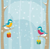 Birds in winter forest — Stock Vector