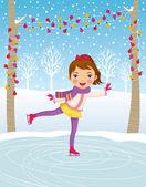 Little girl ice skating — Stock Vector