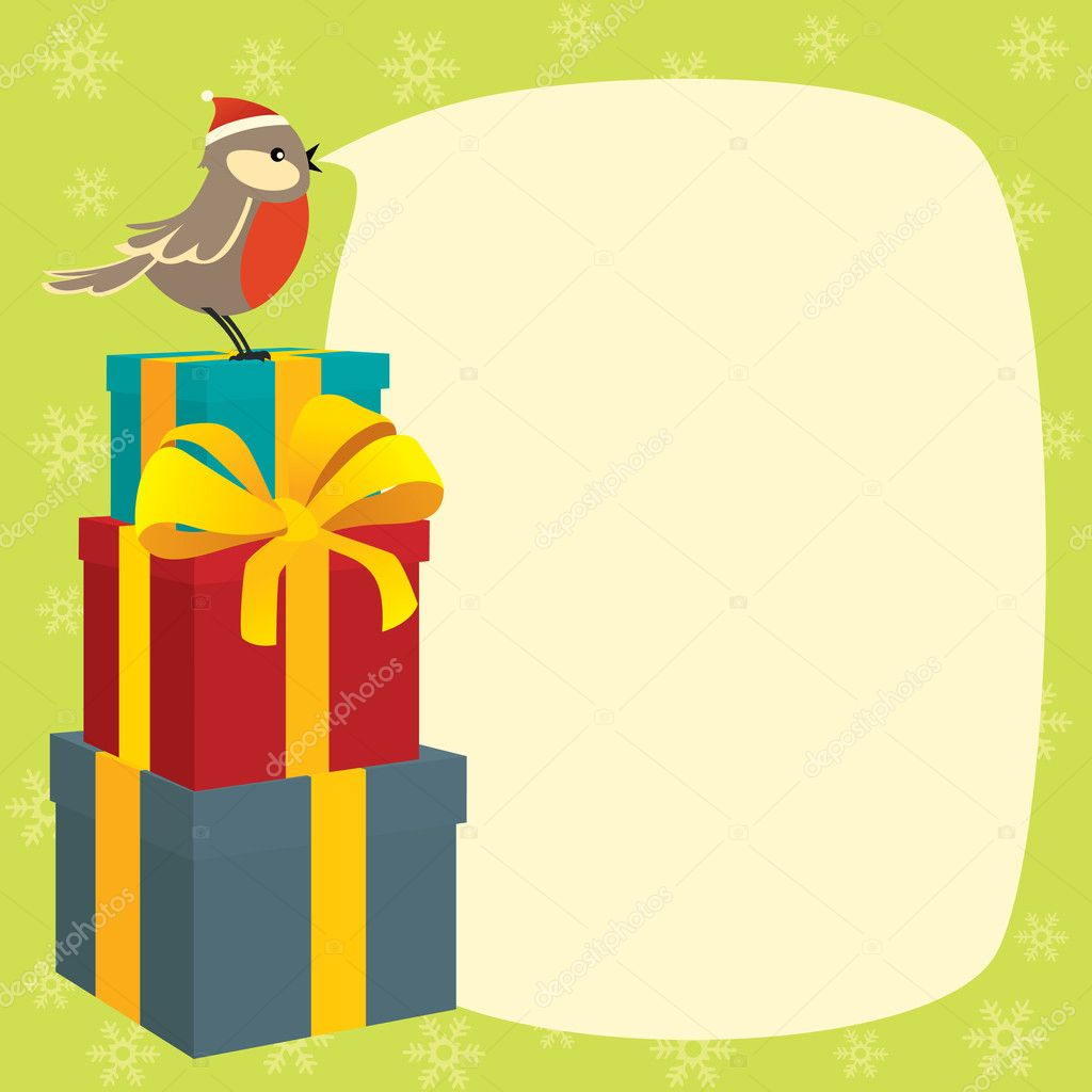 Little bird wishes Merry Christmas — Stock Vector #7761538