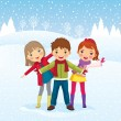 Winter day. Children playing outdoors — Stock Vector