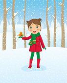 девушка прогуливается в зимнем лесу — Cтоковый вектор