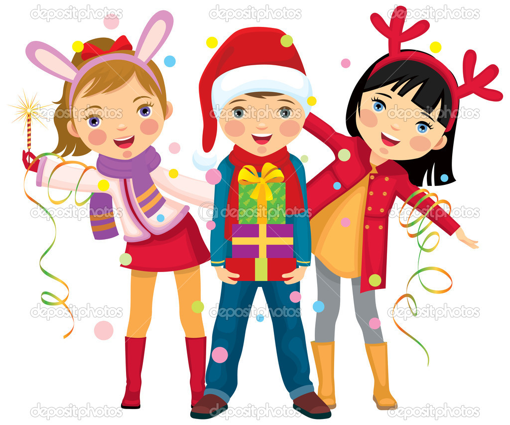 Children make merry at Christmas party  Stock Vector #7947164