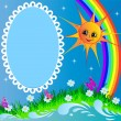 Royalty-Free Stock Vektorfiler: Frame with sun butterfly and rainbow