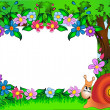 Frame for photo snail and flower — Imagen vectorial