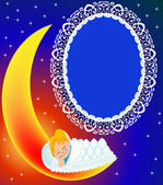 Frame on moon child sweetly sleeps — Stock Vector
