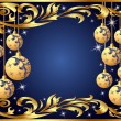Gold background frame festive ball winter — Stock Vector