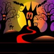 Afraid house tree and cat in halloween — Stock Vector