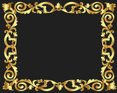 Frame background with gold vegetable pattern — Stock Vector