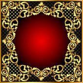 Illustration frame with gold pattern — Stock Vector
