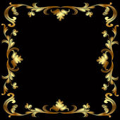 Frame with gold pattern on black — Stock Vector