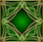 Frame from gold ear on green background — Stok Vektör