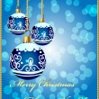 Royalty-Free Stock Vector Image: Background with decorative blue ball on cristmas