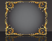 Decorative frame with pattern gold pearl — Stock Vector