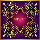 Frame background with gold pattern violet — Stock Vector