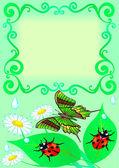 Quadro com borboleta, cor, folha, joaninha e drop — Vetorial Stock