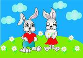 Coniglio presenta il cuore alla donna, che tiene il fiore — Vettoriale Stock