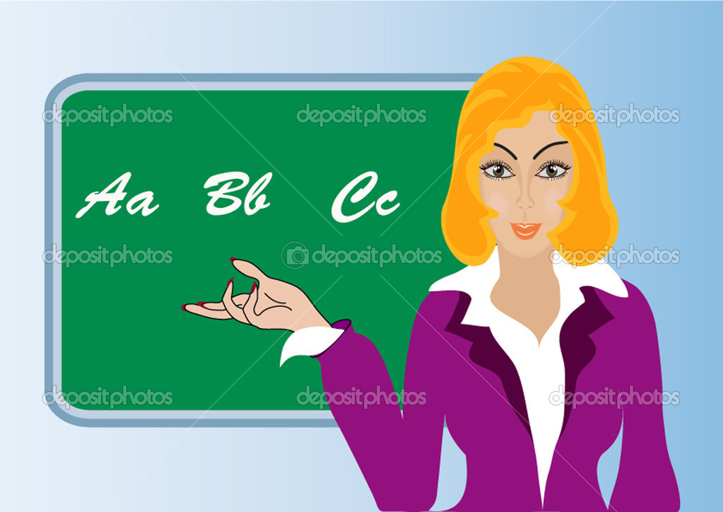 Illustration making look younger woman teacher on background of the school board — Stock Vector #7246572