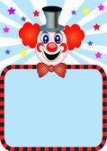 Clown joyeux avec papier pour l'invitation — Vecteur