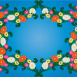 Blue background with flower and sheet — Stockvektor