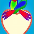 Stock Vector: Two bright parrots on heart are kissed