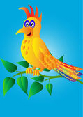 Merry parrot on branch with sheet — Vector de stock