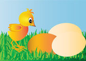 Nestling and egg on green herb — Stock Vector