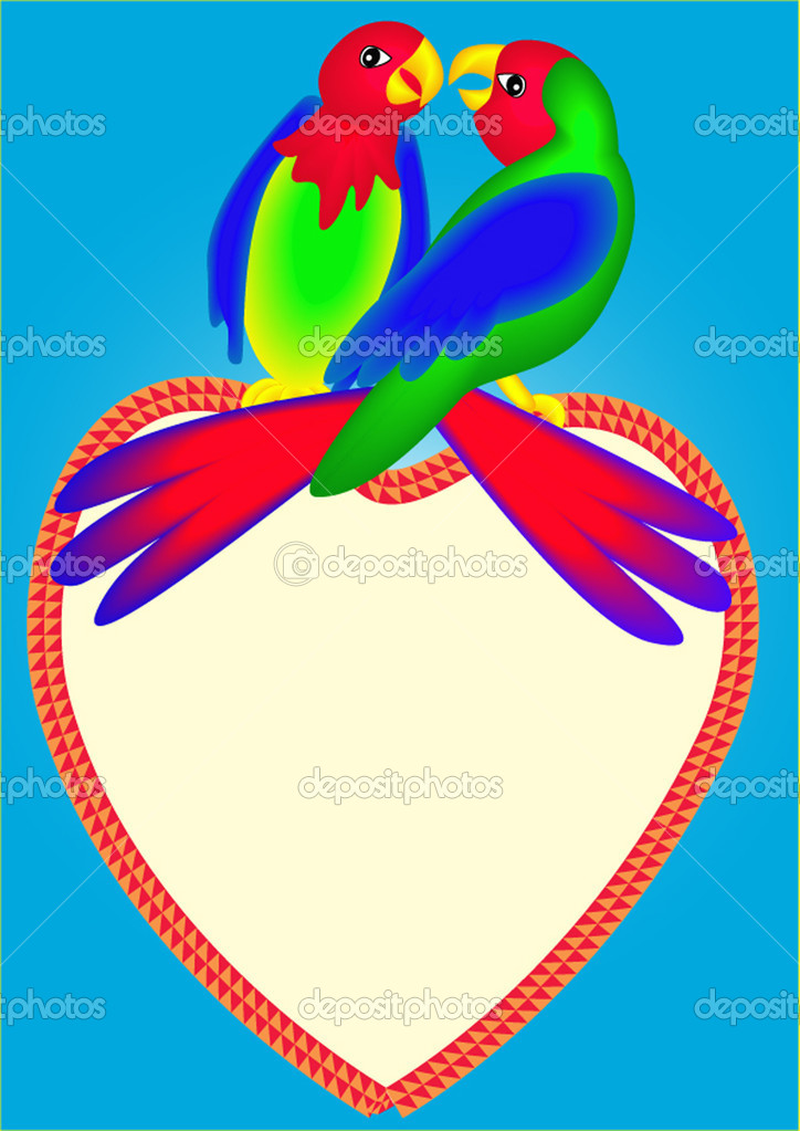 Illustrations two bright parrots on heart are kissed  Stock Vector #7271327