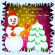 Festive background with snowman — Stock Vector #7321297