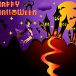 Illustration holiday  halloween witch on broom — Imagen vectorial