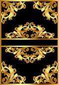 Background with gold pattern on black — Stock Vector