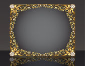 Frame with gold pattern with reflection — Stock Vector