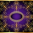 Background with frame and east gold(en) pattern - Imagen vectorial