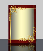 Frame with gold(en) pattern and reflection — Vecteur