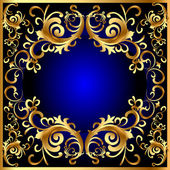 Vintage blue frame with vegetable gold(en) pattern — Stock Vector