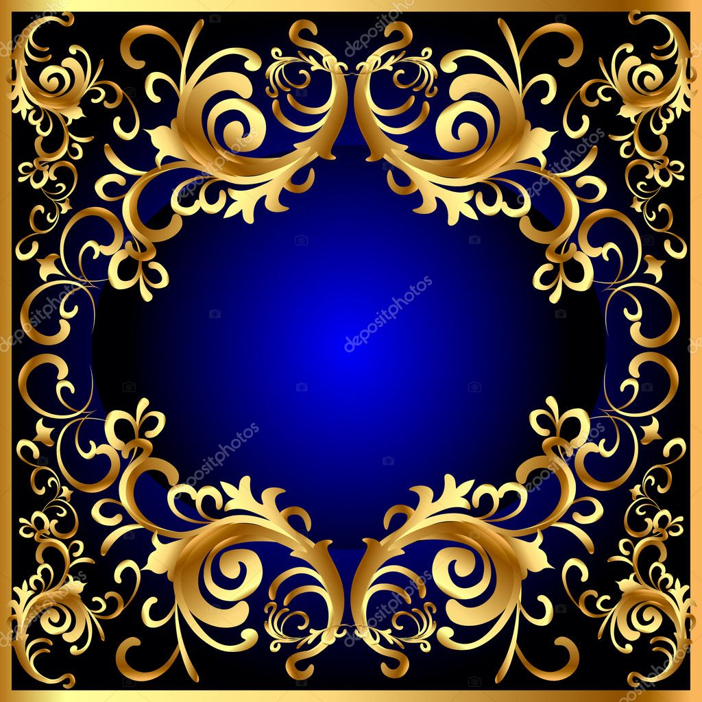 Vintage Blue Frame With Vegetable Golden Pattern Stock