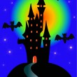 Night lock and bat on holiday halloween — Imagen vectorial