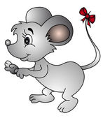 Mouse with bow on tail — ストックベクタ