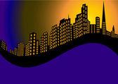 Sfondo con la città di notte e alta casa — Vettoriale Stock