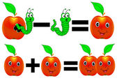 Merry mathematics apple plus minus caterpillar — Vettoriale Stock