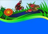蝶の花と水との背景 — ストックベクタ