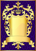Shield and gold royal crown with pattern and tape — Stock Vector