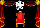 Scene theater with curtain by chair and mask — Stock Vector