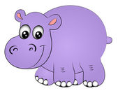 Rhinoceros hippopotamus one insulated — Vector de stock