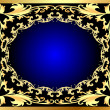 Royalty-Free Stock Immagine Vettoriale: Blue decorative background frame with gold(en) pattern
