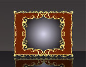 Background frame with gold(en) pattern with reflection — Stockvektor