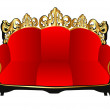 Royalty-Free Stock Векторное изображение: Retro sofa red with gold(en) pattern