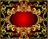 Background pattern gold on red background — Stock Vector