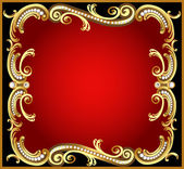 Decorative frame with pattern gold pearl — Stockvektor