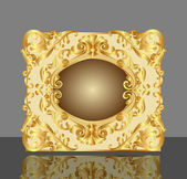 Background frame with gold(en) pattern and reflection — ストックベクタ